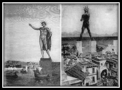 "On the Left: Colosse de Rhodes by Sidney Barclay. Illustration by  Sidney Barclay in the book by Augé de Lassus ""Voyage aux Sept merveilles du monde"" (1880) On the Right: Unknown Artist's misconception of the Colossus of Rhodes from the Grolier Society's 1911 ""Book of Knowledge"""