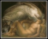 """Selene and Endymion"" by George Frederic Watts (1872)."