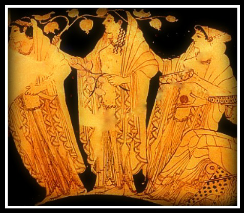 Detail of an attic vase, depicting the Three Horae (Seasons). Period: Late Archaic (500 BC).
