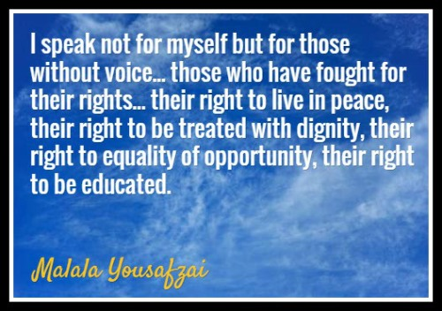 Malala Speaks out loud. Read the post here: http://whenwomeninspire.com/2014/10/24/malala-yousafzai-womens-activist/