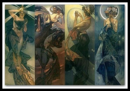 """The Moon and the Stars""(series) by Alphonse Mucha (1902)."