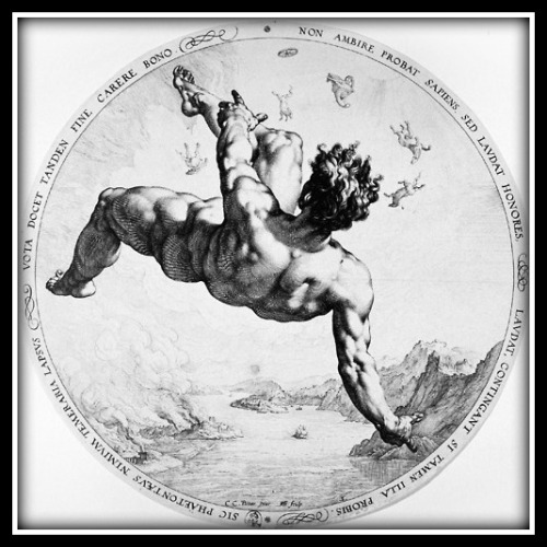 """The fall of Phaeton"" : From the series ""The Metamorphoses"" (Ovid) by Hendrik Goltzius (1588)."