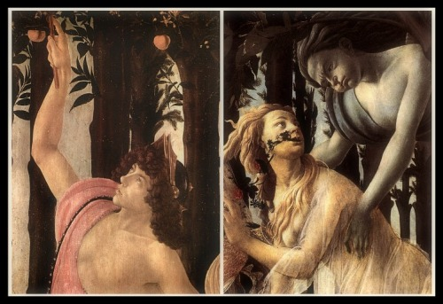 """""""Primavera"""" by Sandro Botticelli (1482). Details. On the Left: Mercury (Hermes). On the Right: Chloris and Zephyrus."""