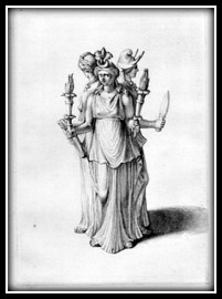 Hecate, depicted in triple form.
