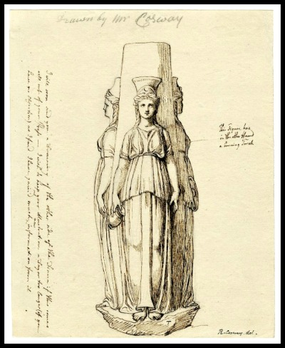 Hecate by Richard Cosway. Pen and brown ink with traces of graphite underdrawing.