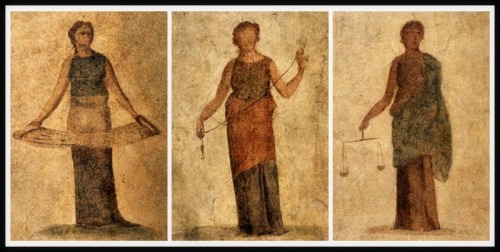 """The Moerae: Atropus,  Clotho and Lachesis"". Frescoes (135-140 BC). Ostia Antica, Italy."