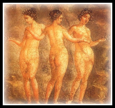 Fresco from Pompeii, House of Titus Dentatus Panthera, ca 65 -79 AD; Museo Archeologico Nazionale di Napoli - Three Graces