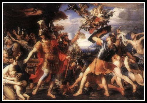 """Aeneas and his Companions Fighting the Harpies"" by François Perrier (17th century)."