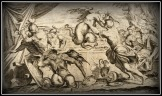 Aeneas and his Companions Combat the Harpies, plate 10 of L'Enea Vagante Pitture dei Caracci from of a set of twenty prints after the paintings by Agostino Carracci (16th century).