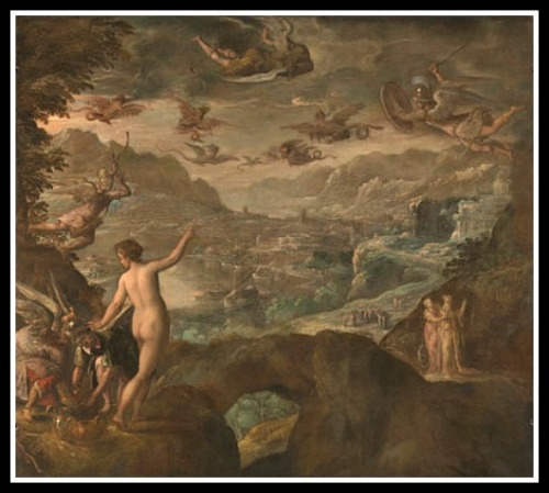 """Landscape with the Expulsion of the Harpies"" by  Paolo Fiammingo (1590)."