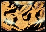 """""""Harpies stealing the food of King Phineus"""". Athenian red figure hydria (5th century B.C)."""