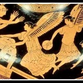 """Harpies stealing the food of King Phineus"". Athenian red figure hydria (5th century B.C)."