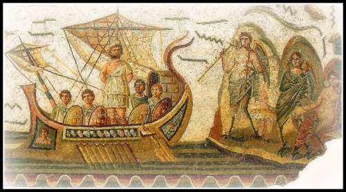 "Roman mosaic: ""Odysseus and the Sirens"" at the Bardo Museum in Tunis, Tunisia. 2nd century B.C."