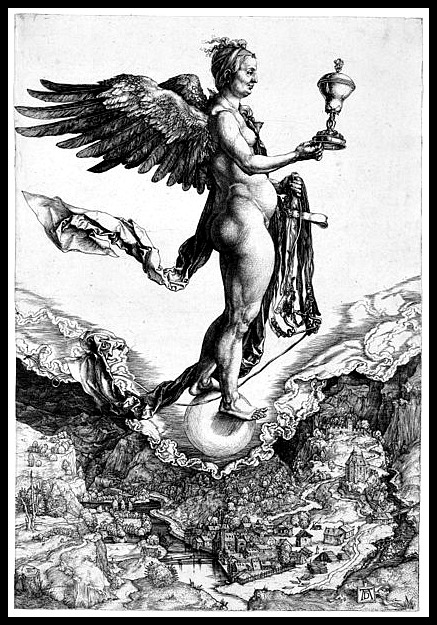 Nemesis (The Great Fortune) by Albrecht Dürer (1502).