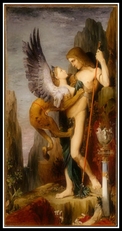 """Oedipus and the Sphinx"", by Gustave Moreau, (1864)."