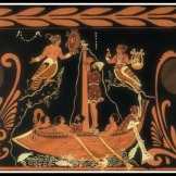 Odysseus and the Sirens. Paestan Red Figure. 340 B.C. Antikenmuseen, Berlin, Germany.