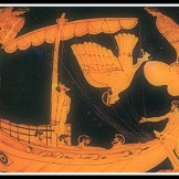 Odysseus and the Sirens. Attic Red Figure. 500 - 480 B.C. British Museum, London. UK.