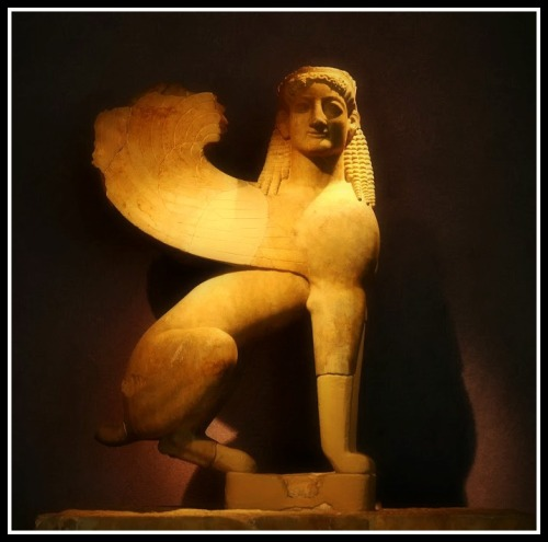 Sphinx. The upper decorative element from grave stele in Kerameikos Museum in Athens. (550 BC).