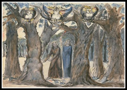 """The Wood of the Self-Murderers: The Harpies and the Suicides"" by William Blake (1824/1827)."