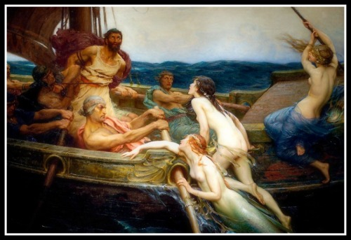 """Odysseus and the Sirens"" by Herbert James Draper, (1909)."