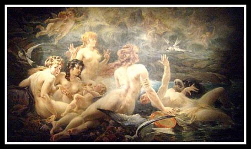 """""""Les Sirenes visitées par les Muses"""" by Adolphe La Lyre (19th century)."""