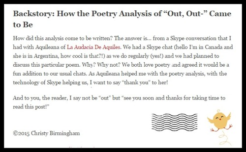 """Poetry Analysis: 'Out, Out-' by Robert Frost"". Click here."