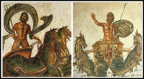 On the Left: Mosaic: Poseidon rides across the sea in a chariot drawn by two Hippokampoi (fish-tailed horses. 3rd century AD. On the Right: Poseidon with tirdent on hand driving a chariot, drawn by two Hippokampoi.  3rd century AD.