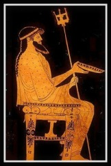 Poseidon sits enthroned. Attic Red Figure. 475 - 470 BC. Poseidon was Pegasus´father.