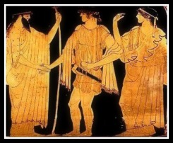 Theseus is received in the undersea palace of his father, King Poseidon. The hero is greeted by the god with a welcoming handshake. Behind him stands Poseidon's queen Amphitrite. Attic Red Figure. 470 BC. Harvard University Art Museums, Massachusetts, USA.