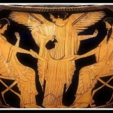 Poseidon and Amphitrite, the king and queen of the sea, are served nectar by the winged goddess Iris. Attic Red Figure by the Syleus Painter. 480 BC. Toledo Museum of Art, Ohio, USA.