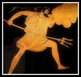 Detail of Poseidon from a painting depicting his battle with the giant Polybotes. Attic Red Figure. 500 - 475 BC. Williams College Museum of Art, Massachusetts, USA .