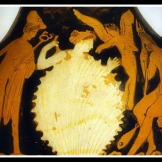 Aphrodite is born from the sea in the heart of a cockle shell. To her left stands the herald Hermes. Eros flutters by her side, and to the right sits Poseidon. Attic Red Figure. 360 BC. Museo Archeologico Nazionale, Salonica, Italy.