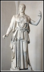 "Marble Greek copy signed ""Antiokhos"", a 1st-century BC variant of Phidias' 5th-century Athena Promachos that stood on the Acropolis."