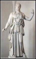 "Marble Greek copy signed ""Antiokhos"", a 1st-century BC variant of Phidias' 5th-century Athena Promachos that stood on the Acropolis."