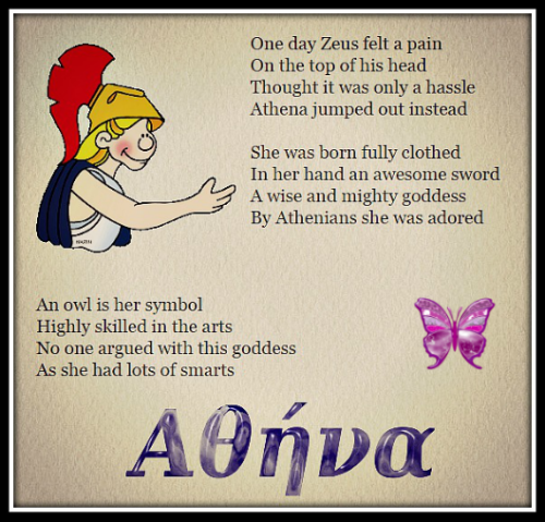 """Greek Goddess ~ Athena"". Poem by LadySighs. Click above."