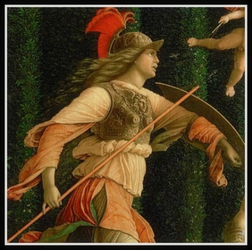 """Pallas and the Vices""(Minerva Expelling the Vices from the Garden of Virtue), by Andrea Mantegna (1502). Right side: Detail  Athena, trying to Expel the creatures who represent the many vices from the Garden of Virtue and To rescue the ""Mother of the Virtues"" from her stone prison (to the far right of the painting, a detail of which can be seen below). -"
