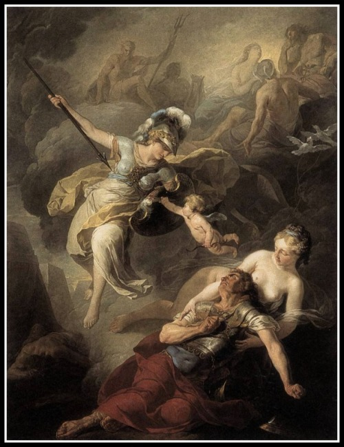 """The Combat of Mars and Minerva"" by  Suvée Joseph-Benoit (1771)."
