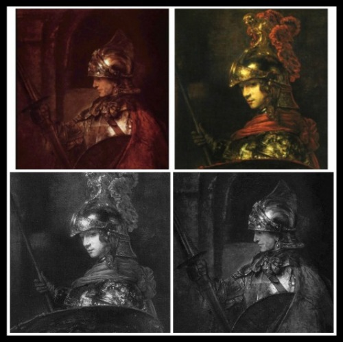 "Up right: ""Man in Armour"" or ""Alexander the Great"" by Rembrandt (1655). Up Left: ""Minerva or Pallas Athena"" by Rembrandt (1655)."