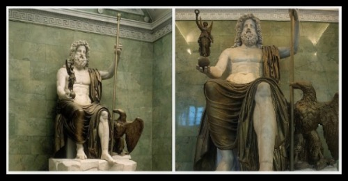 Zeus enthroned holding a royal sceptre and winged Nike (Victory), and with an eagle by his side. Roman copy inspired by Greek ivory and gold statue of Zeus at Olympia by Pheidias. Marble & Bronze . Imperial Roman. C1st AD Hermitage Museum, St Petersburg, Russia.