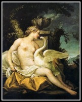 """""""Leda and the Swan"""" by Jean-Baptiste Marie Pierre . (18th century)."""