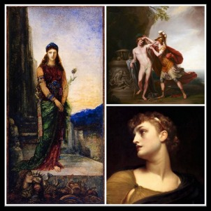 "On the Left: ""Helen on the Walls of Troy"" by Gustave Moreau. (1885). On the Right: Up: ""Castor and Pollux, The Heavenly Twins"", by Giovanni Battista Cipriani. (1783). On the Right: Down: ""Clytemnestra"" by Frederick Leighton. (19th century)."
