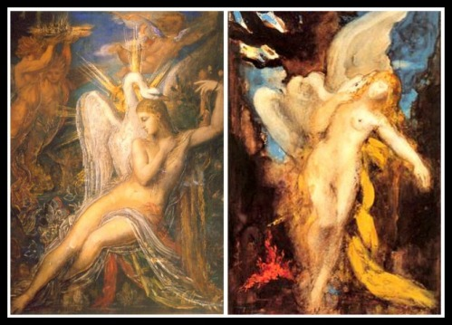 "On the Left: ""Leda and the Swan"" by Gustave Moreau. (1865-1875). On the Right: ""Leda"" by Gustave Moreau (1875-1880)."