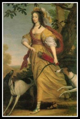 """""""Henriette von Nassau as Diana"""" by Willem van Honthorst (1640)."""
