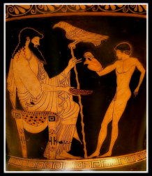 Ganymede pouring Zeus a libation. 480 BC.