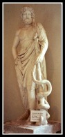 Statue of Asclepius with snake. 250 BC.