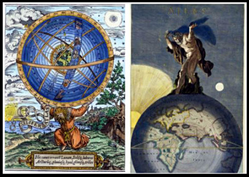 On the Left: Atlas bears the world and the cosmos on his shoulders - from a 16th century English woodcut. on The Right: Drawing by Danckerts, Justus. Atlas hold up the world on his back.