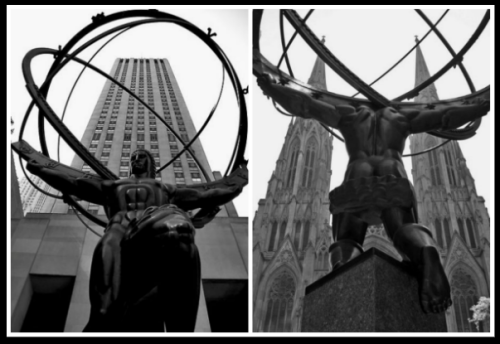 Both sides of The Titan. NYC, St. Patrick's Cathedral/Rockefeller Center.