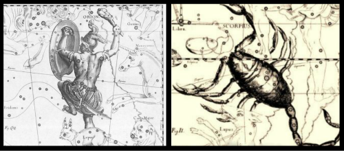Constellations of Orion and Scorpio.
