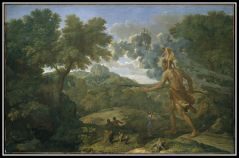 """Landscape with blind Orion seeking the sun"" by Nicolas Poussin (1658)."