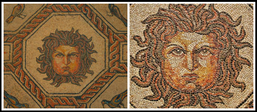 Roman mosaic from 4th C. BC found in Palencia, in the year 1869 and currently at the National archaeological Museum of Madrid.